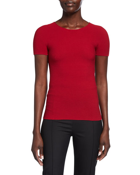 Giorgio Armani Scoop-Neck Short-Sleeve Tee, Red