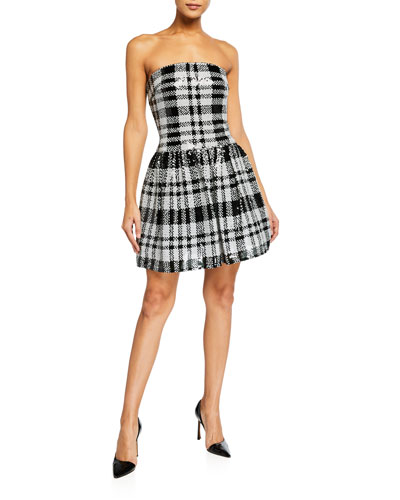 Plaid Sequin Strapless Fit-&-Flare Dress