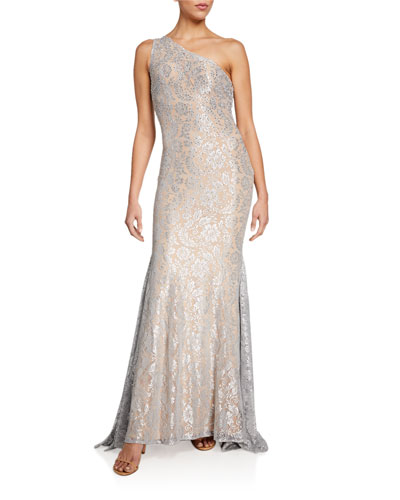 Stone Embellished One-Shoulder Metallic Lace Gown