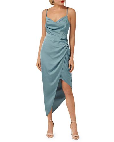 Asymmetric Cowl-Neck Satin Dress