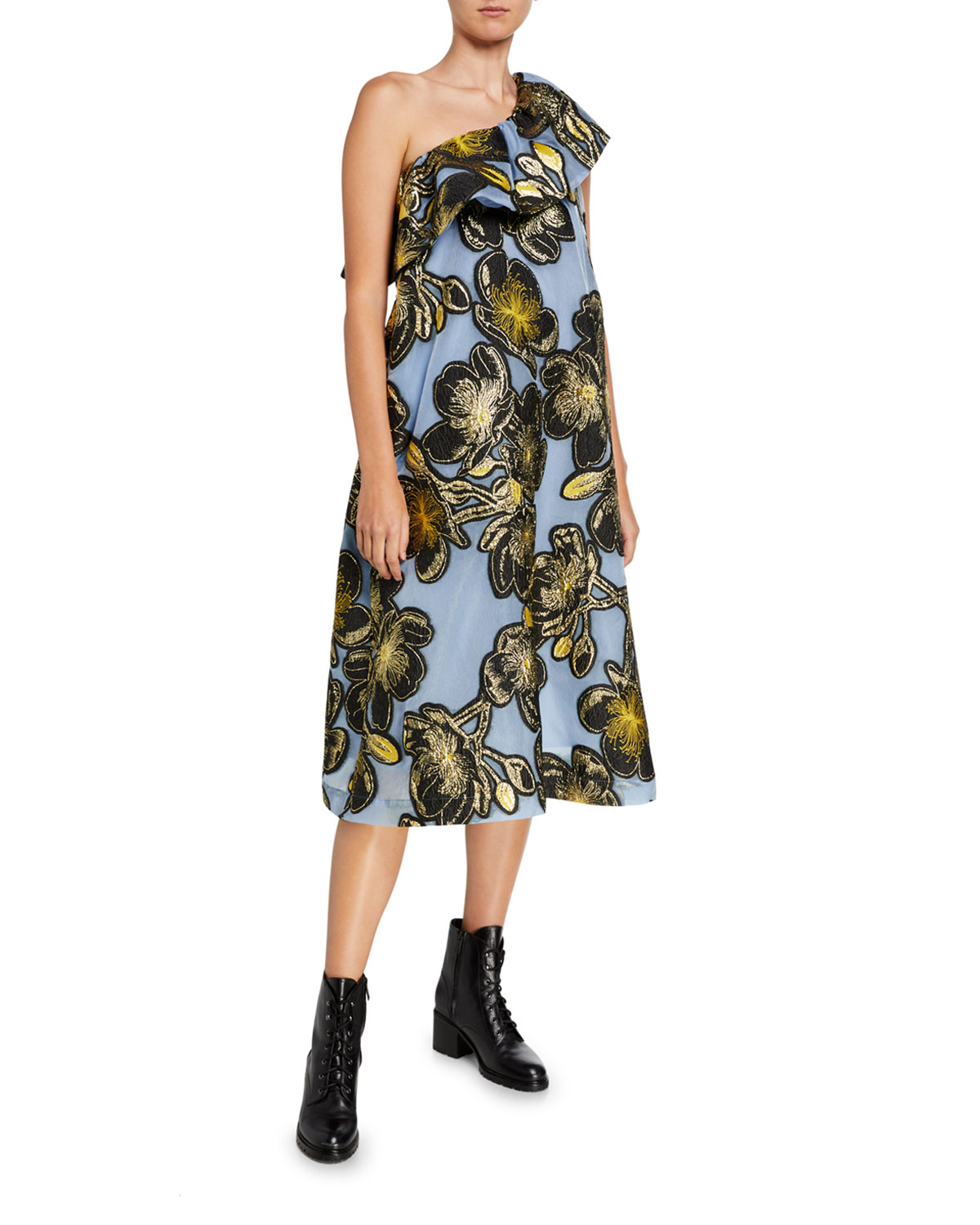 Stine Goya Dresses OLIVE ONE-SHOULDER EMBROIDERED RUFFLE DRESS