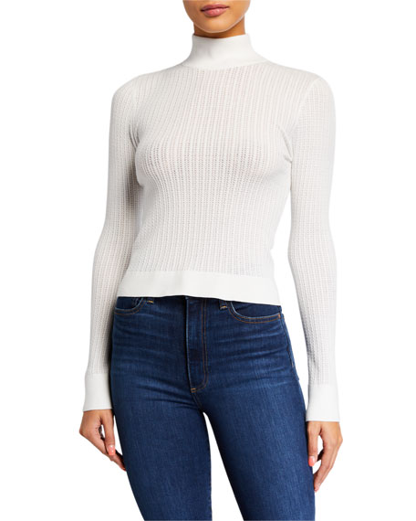 Alice + Olivia Lanie High-Neck Long-Sleeve Pullover Sweater