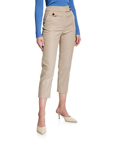 Renzo Check Straight-Leg Pants