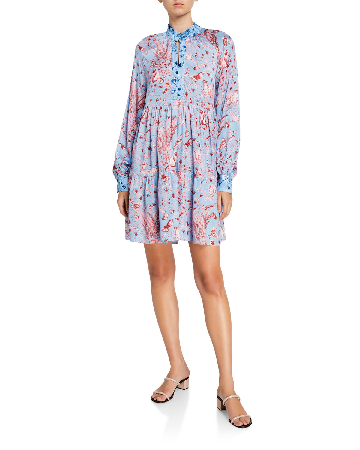 Stine Goya Dresses JASMINE TIERED LONG-SLEEVE PRINTED DRESS