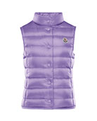 Moncler Girl's Liane Quilted Snap Front Vest, Size