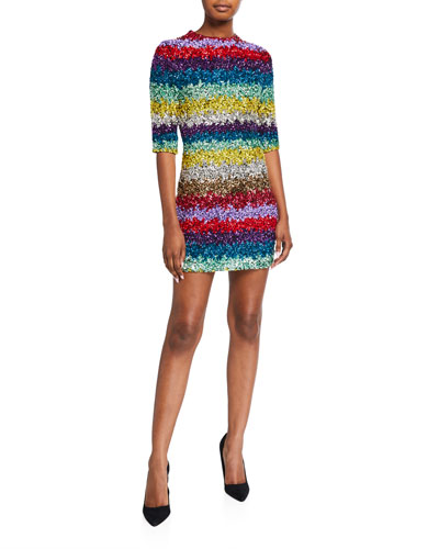 Inka Sequined Strong-Shoulder Mock-Neck Dress