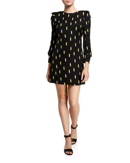 Alice + Olivia Beatrix Printed Strong-Shoulder Shift Dress