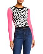 Alice + Olivia Ciara Leopard-Print Pullover Sweater