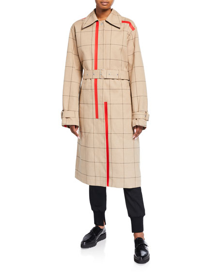 3.1 Phillip Lim Windowpane Trench Coat with Side Slits
