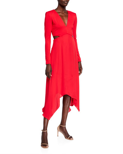 Temika Cutout Handkerchief Midi Dress
