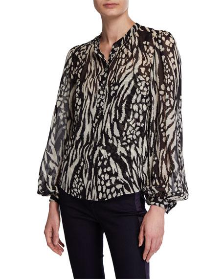 Veronica Beard Ashlynn Ikat Animal-Print Silk Button-Down Blouse