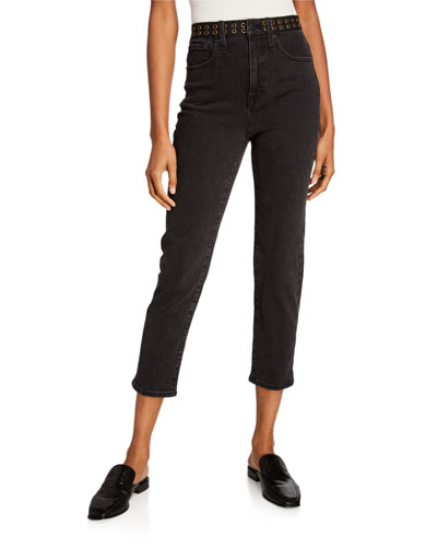 Classic Belted Straight-Leg Jeans