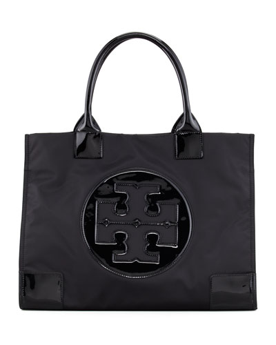 Ella Nylon Tote Bag, Black