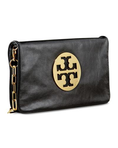 Reva Glazed Leather Clutch Bag, Black