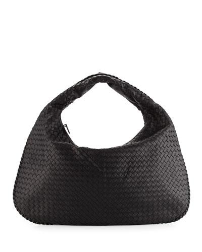 Veneta Intrecciato Maxi Hobo Bag, Black