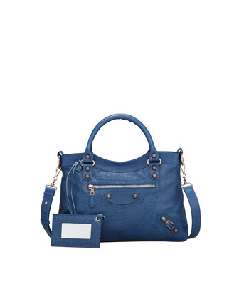 Giant 12 Rose Golden Town Bag, Blue Cobalt