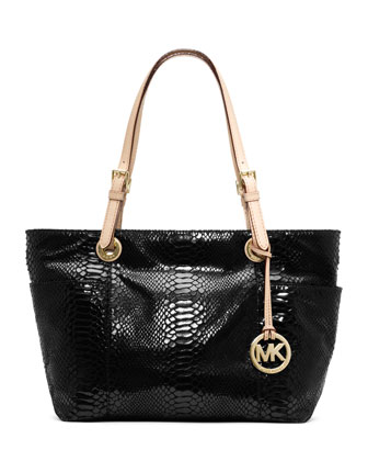Jet Set Zip-Top Tote, Black Embossed Python