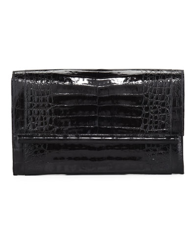 Front-Flap Crocodile Bar Clutch Bag, Shiny Black