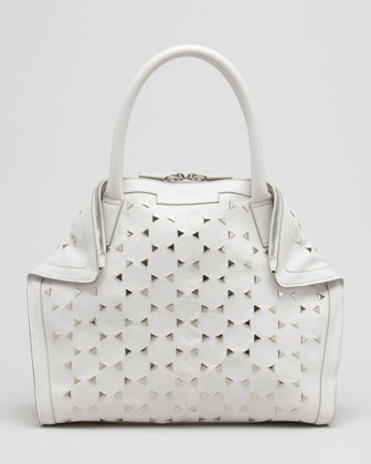 Triangle-Studded De-Manta Tote Bag, Mini