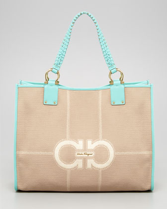 Kaitlin Canvas Leather-Trim Tote Bag, Turquoise