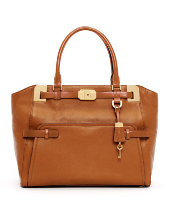 Blake Large Pebbled Leather Satchel Bag