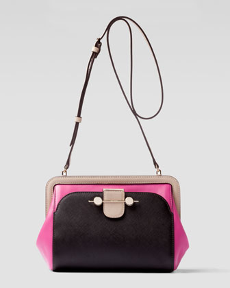 Daphne Colorblock Crossbody Bag, Brown/Magenta