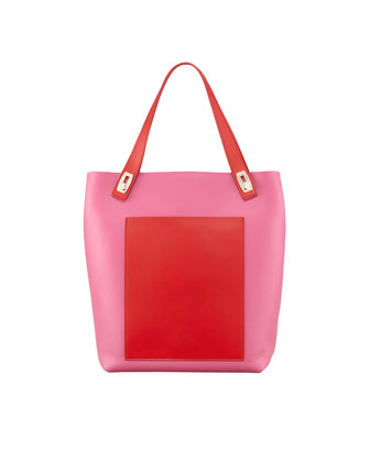 Small Pocket Tote Bag, Fuchsia/Rouge