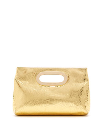 Berkley Metallic Python-Embossed Clutch Bag