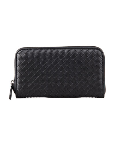 Continental Zip-Around Wallet, Black
