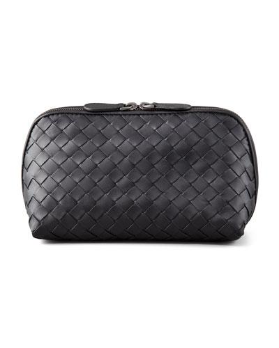 Woven Leather Medium Cosmetics Case
