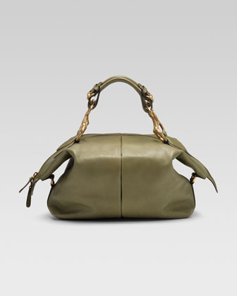 Soft Icon Leather Top Handle Bag, Green Tea