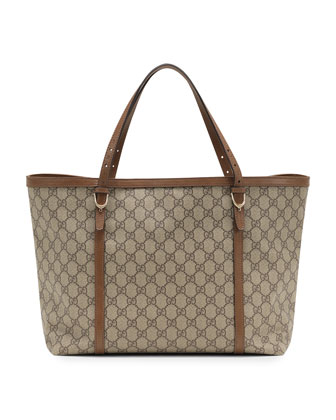 Nice GG Supreme Canvas Tote, Brown