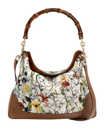 Diana Floral Canvas Bamboo Shoulder Bag