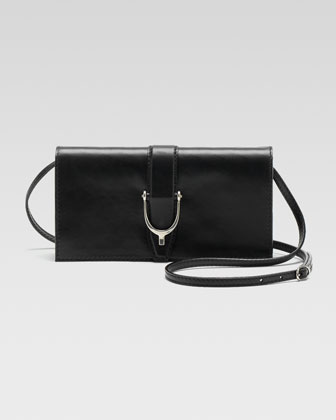 Soft Stirrup Small Leather Shoulder Flap Bag, Black