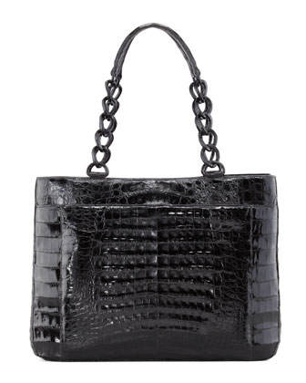 Crocodile Chain-Strap Tote Bag, Black