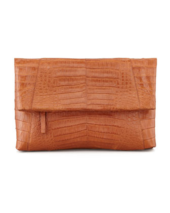 Crocodile Messenger Fold-Over Clutch Bag, Cognac