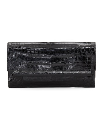 Front-Flap Crocodile Bar Clutch Bag, Black