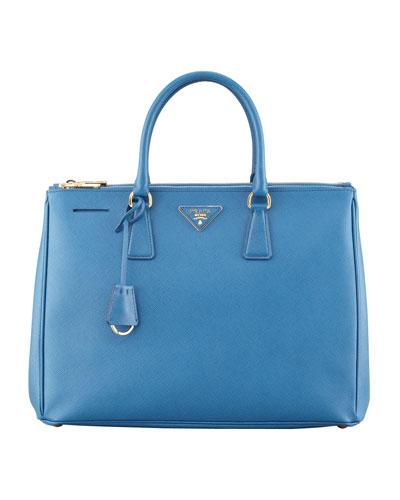 Medium Saffiano Double-Zip Executive Tote Bag, Cobalt (Cobalto)