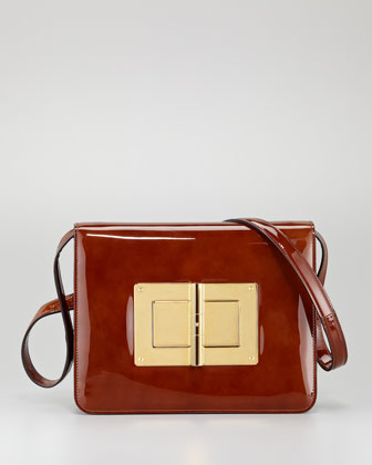 Natalia Large Turn-Lock Shoulder Bag, Caramel
