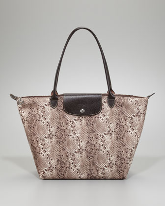 Le Pliage Pythone-Print Shoulder Tote Bag, Clay