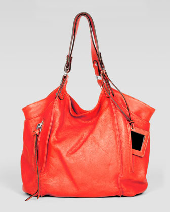 Logan Leather Tote Bag, Orange