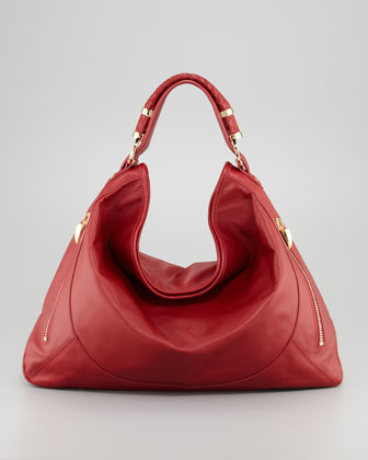Joni Leather Zipper Hobo Bag, Cherry