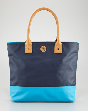 Jaden Colorblock Tote Bag, Blue/Turquoise