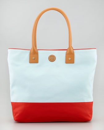 Jaden Colorblock Tote Bag, Aqua/Red