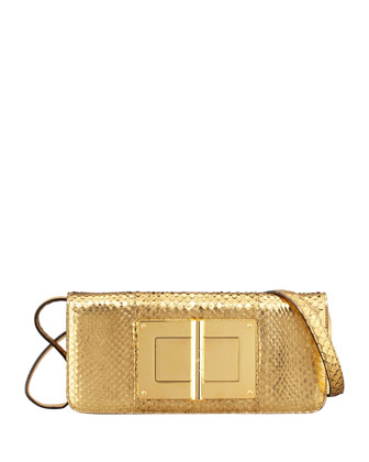 Natalia East-West Python Shoulder Bag, Gold