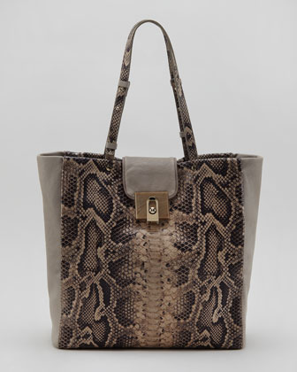 For Me Snake-Embossed Shopping Tote, Gray
