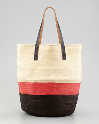 Colorblock Straw Tote Bag