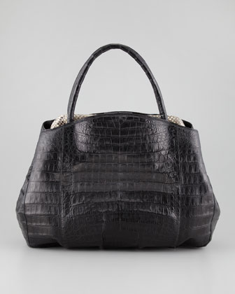 Crocodile Python-Frame Tote Bag, Black/Multi