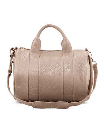 Rocco Stud-Bottom Satchel Duffel Bag, Beige/Rose Gold
