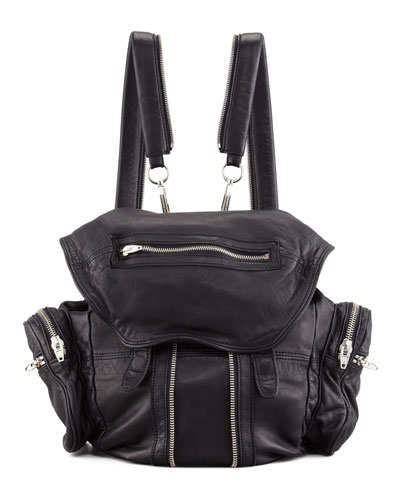 Marti Washed Lambskin Backpack, Black/Nickel